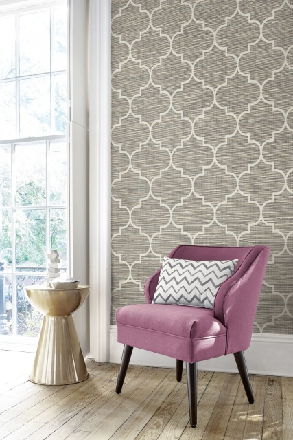 Jaima Brown - Lattice on Grasscloth Wallpaper