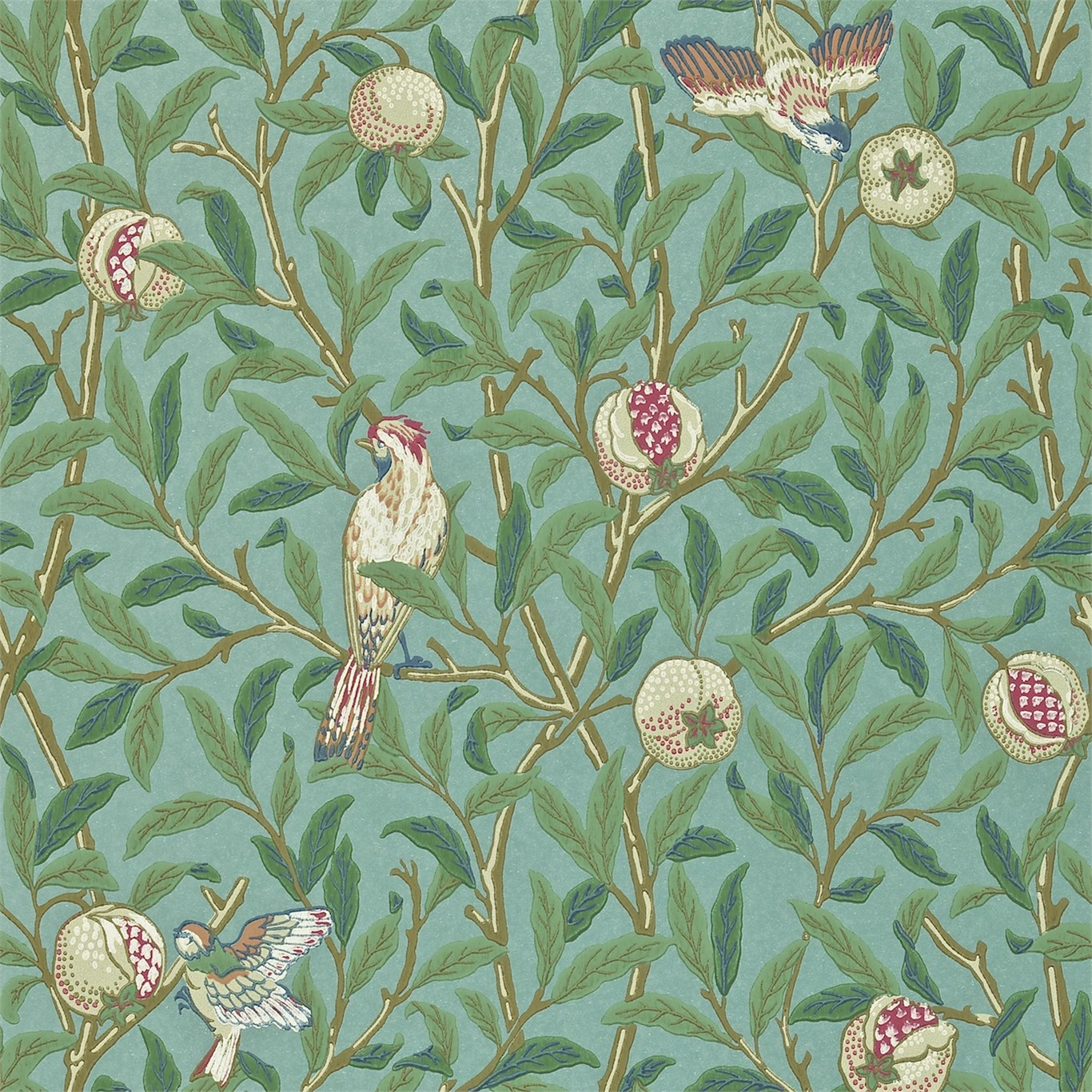 Wallpaper With Birds morris & co - bird & pomegranate wallpaper