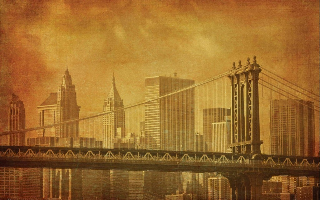 Finest mural antique brooklyn bridge for Antique mural wallpaper