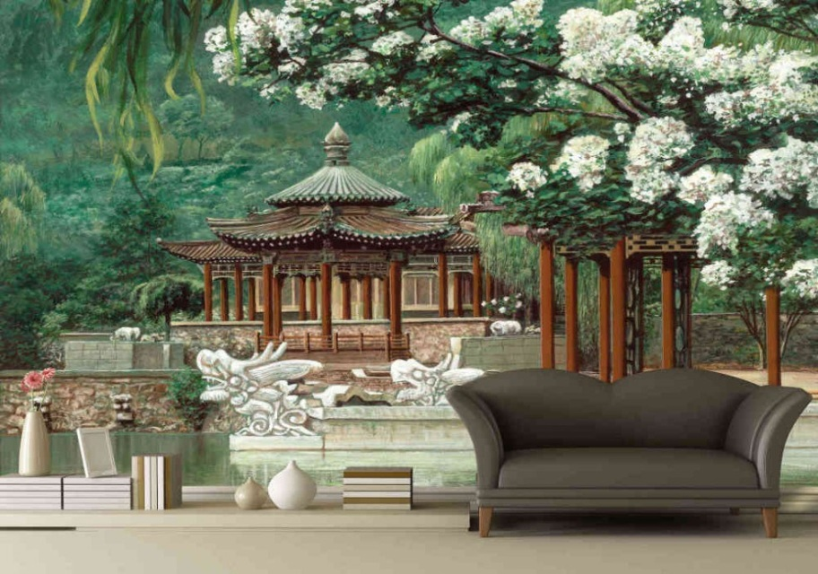 Finest mural oriental garden for Asian wallpaper mural