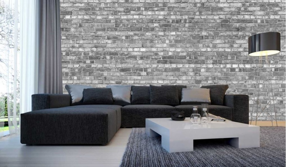 Finest mural old brick wall black white for Black wall mural