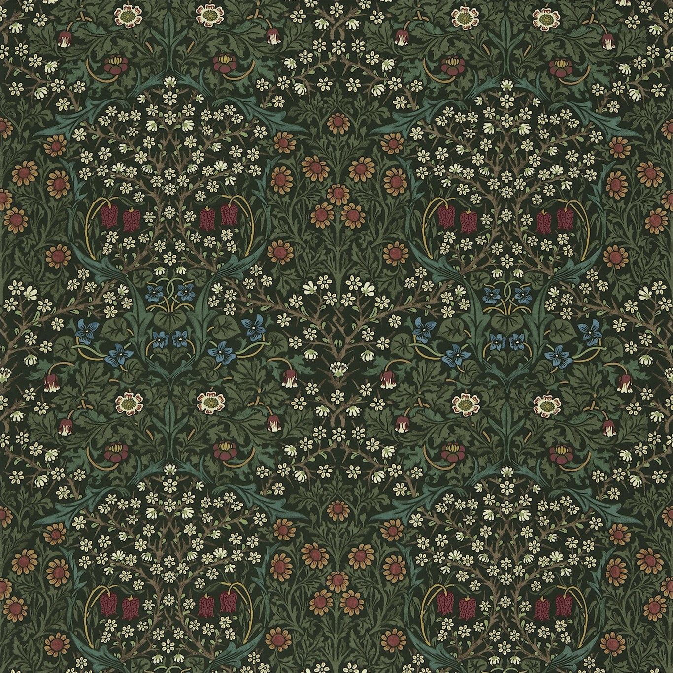Morris Co Blackthorn Fabric Green