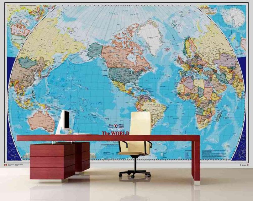 Finest mural world map for Cadlow mural world
